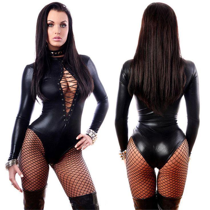 Womens Wetlook Vinyl Pvc Catsuit Front Lace Up Bodysuit Jumpsuit Clubwear Romper