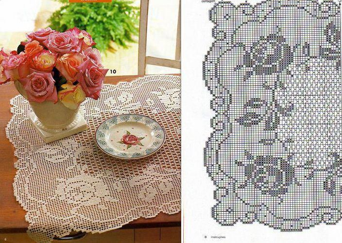 Crochet filet rose doily ♥LCF-MRS♥ with diagrams.
