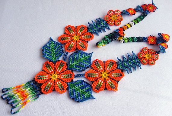 Mexican Huichol Beaded flower necklace by Aramara on Etsy, $33.50