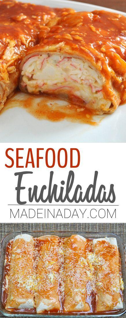 Seafood Enchiladas with Imitation Crab Meat. Main dish, Mexican food, crab burrito, crab meat enchiladas, Imitation crab, cheese & cilantro via @madeinaday