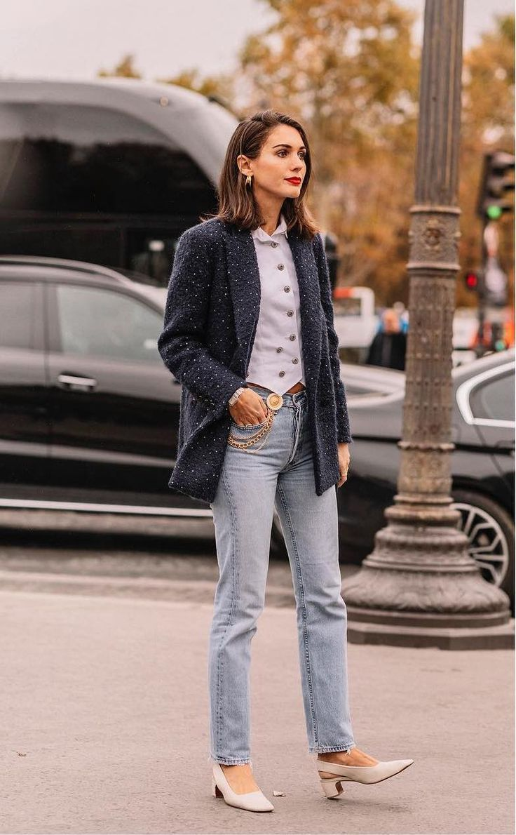 Kostuumvest Op Jeans.20 Ways To Style Your Jeans This Fall Women S Fashion Op