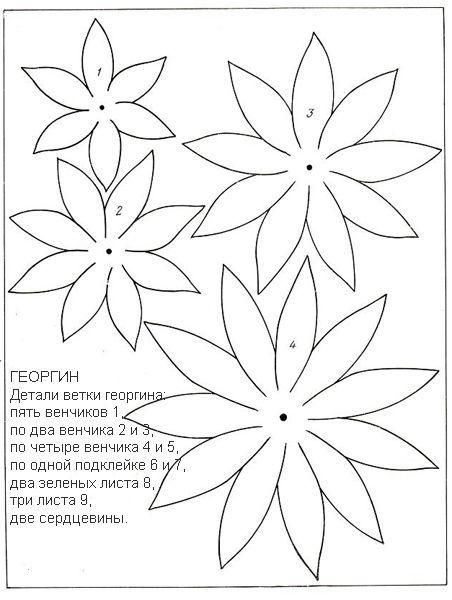 Выкройки для изготовления цветов из ткани   Сайт о рукоделии