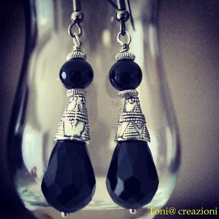 #orecchini in #cristallo e #onice nero