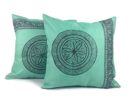 Turquoise Pillow, Accent Pillow, 16X16 Pillow, Silk Cushion, Bed Pillow, Rustic…