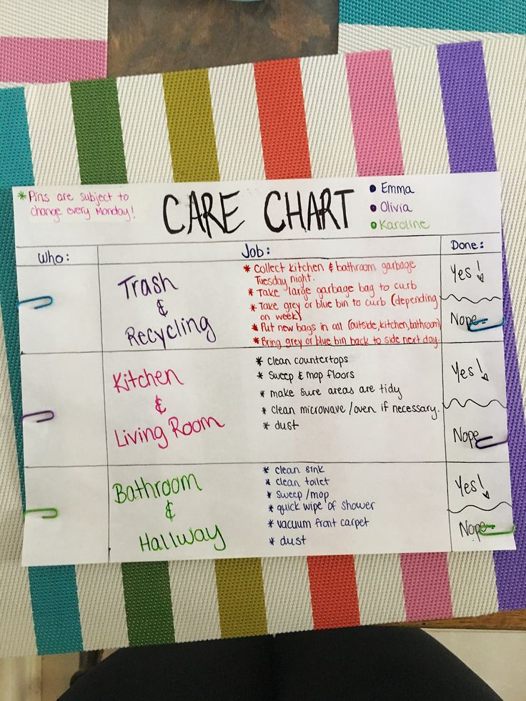 College roommates care / chore weekly chart                                                                                                                                                                                 More