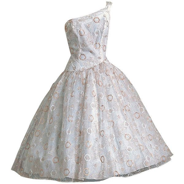 Pre-owned 1950's Emma Domb White & Gold Embroidered Tulle One-Shoulder... ($450) ❤ liked on Polyvore featuring dresses, vintage, ballerina dresses, evening dresses, vintage dresses, cocktail party dress, white feather cocktail dress, white skater skirt and white sparkly dress