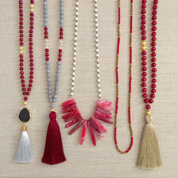 SALE - Maroon, Grey, and Gold Gameday Necklaces