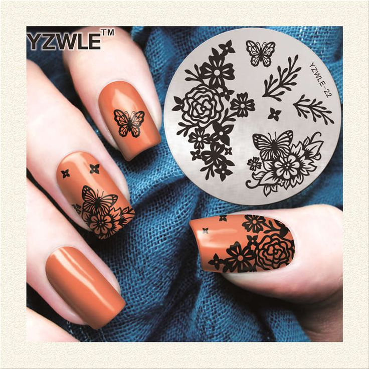 YZWLE 1 Piece Chic Flower Theme Nail Stamping Plates 5.6cm Round Nail Art Stamping Stamp Template Accessories