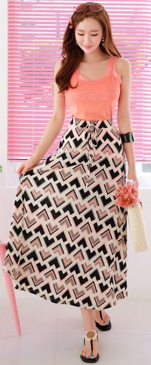 StyleOnme_Triangular Patterned A-Line Maxi Skirt #maxi #skirt #koreanfashion #kstyle #kfashion #dailylook #seoul #summertrend