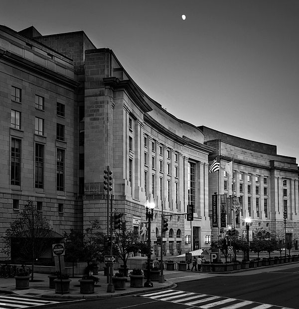 Late Evening At The Ronald Reagan Building In Black And White  Washington, DC  http://1-greg-mimbs.pixels.com/featured/late-evening-at-the-ronald-reagan-building-in-black-and-white-greg-mimbs.html