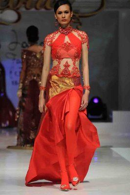 Modern Red and Gold Kebaya by Indonesian Designer AYOK DWIPANCARA