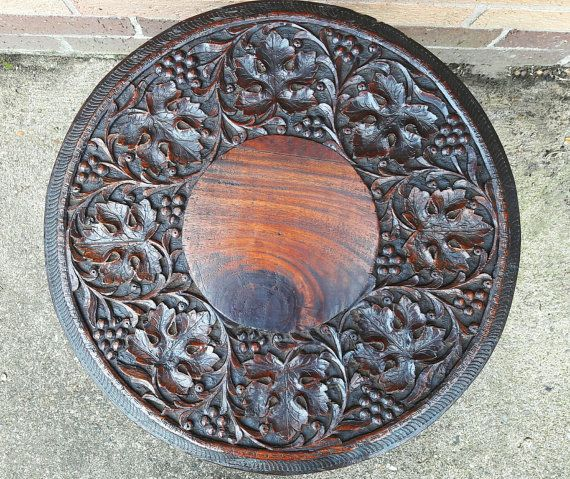 Beautiful Antique Hand Carved Anglo Indian Folding by RAVERETRO