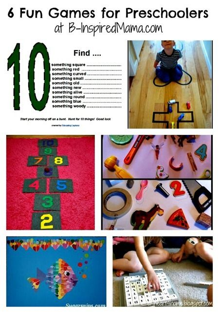 6 Fun and Easy Preschool Games from the Weekly Kids Co-Op at B-InspiredMama.com: Indoor Hopscotch, For Kids, Easy Kids Games, Easy Preschool, Kids Collage, Fun Games, Preschool Games, Crafts Games Fun Preschool, Activities Kids Games