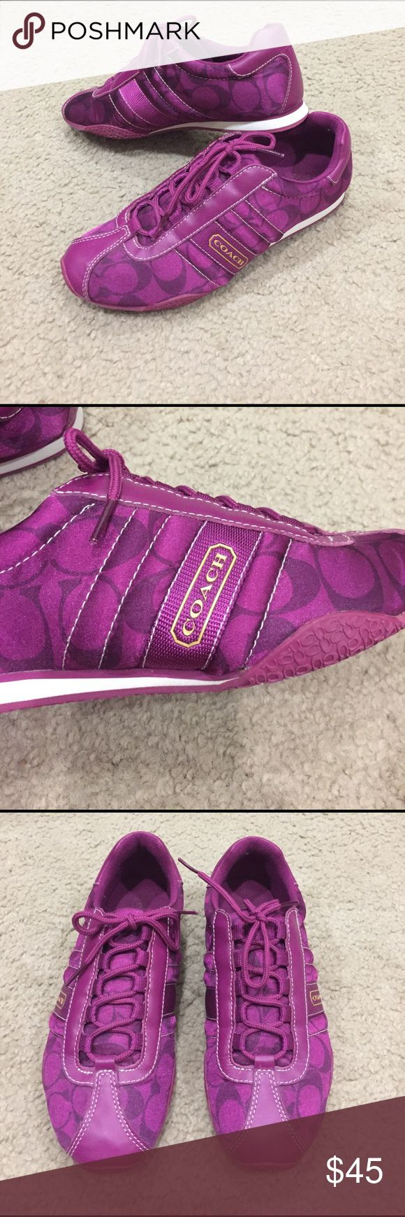 Coach Kirby magenta sateen tennis shoes! Coach Kirby magenta sateen tennis shoes! These are preloved in excellent condition. They are a pink/purple. Absolutely stunning!  Coach Shoes Sneakers