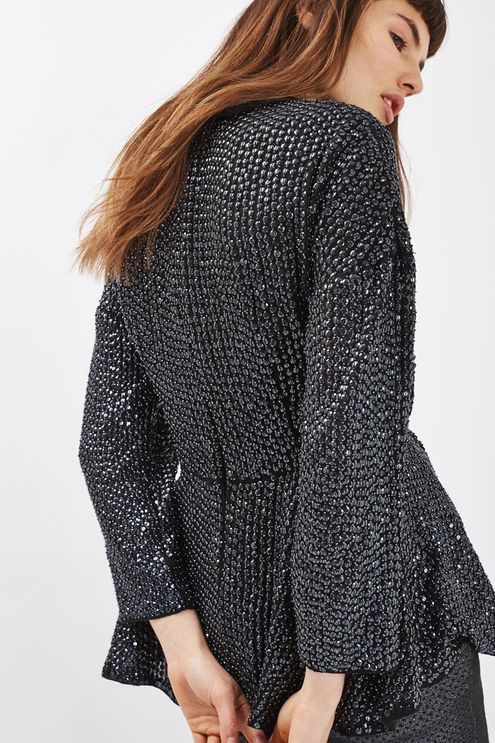 Beautiful all over embellished 80s high neck top with roll neck. #Topshop