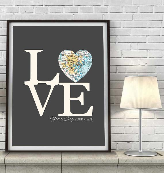 Custom LOVE your City Heart Map Location - Couples- Engagement -Anniversary - Family gift UNFRAMED ART PRINT