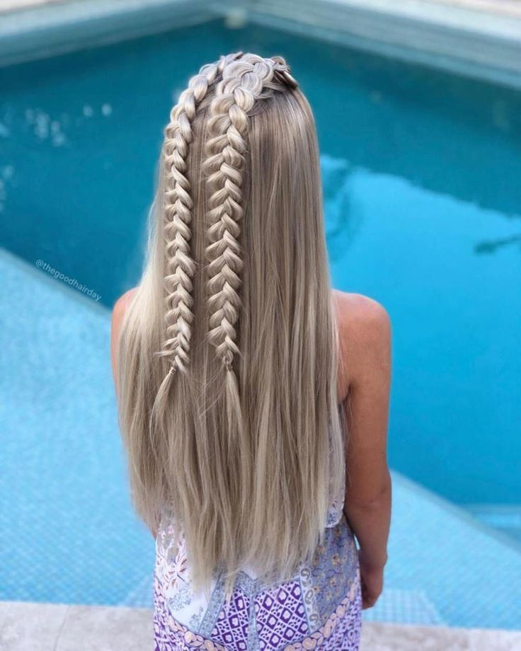 short hairstyles bun French Braids #longhairstylesforwomen