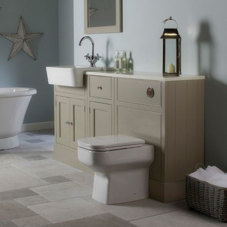 Quite nautical don't you think? Cream furniture, looks great with the light blue walls and cute decorative accents. Roper Rhodes Hampton bathroom range. Buy #Traditional style #Bathrooms from UK Bathrooms