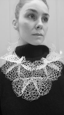 21st century ruff-style necklace made of recycled plastic bags by Laura Anne Marsden.