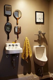 Man Cave Home Office   Eclectic   Powder Room   Los Angeles   By Joe  Schmelzer, Inc. Dba Treasurbite Studio, Inc. Love The Urinal Idea.