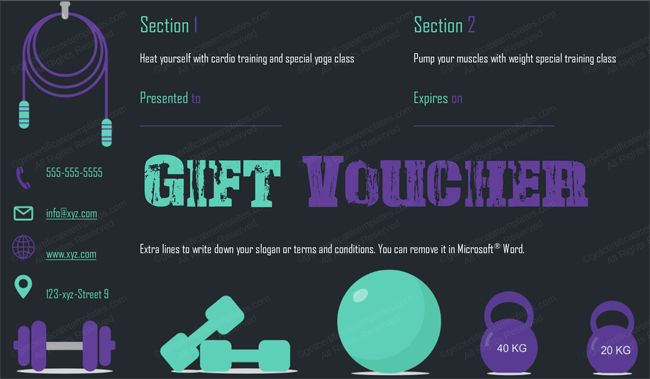 Gym Gift Certificate Template giftcard giftvoucher – Fitness Gift Certificate Template