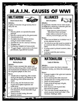 Printables Causes Of World War 1 Worksheet 1000 images about lesson plans world war i on pinterest ww1 m a n causes student referencehandout