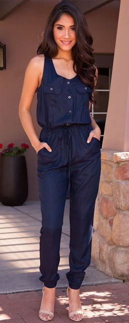 Women's fashion | Button up deep blue sleeveless jumpsuit