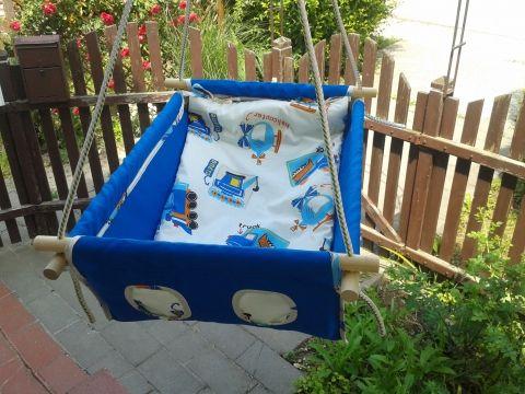 100% pamut kék járműves, Baba-mama-gyerek, Játék, Kerti játék, Baba játék, Meska