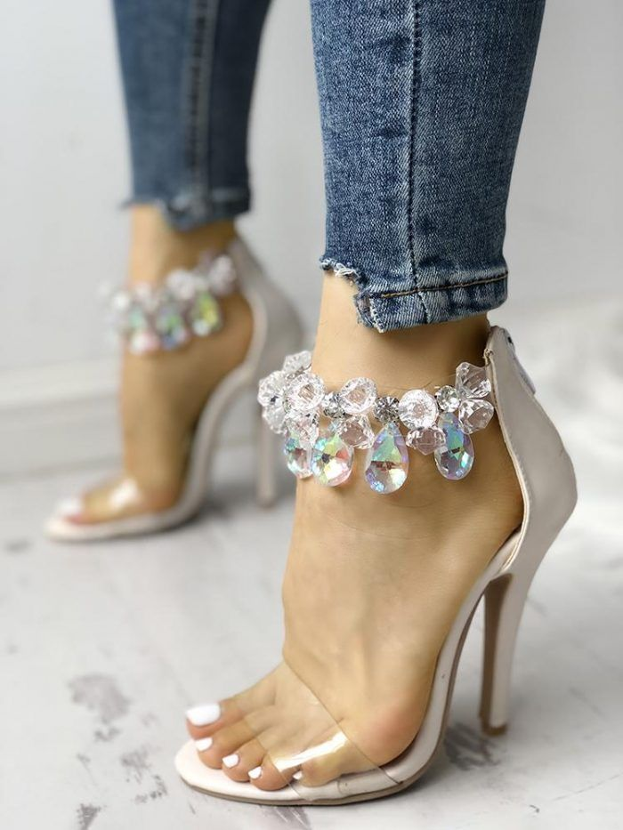 Clear Design Shiny Ankle Heeled Thin Sandals