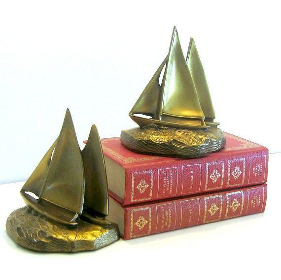 Brass Sailboat Bookends, Vintage Brass Book Ends, Sailboat Bookends, Vintage Nautical Bookends, PM Craftsman Vintage Brass, Vintage LIbrary