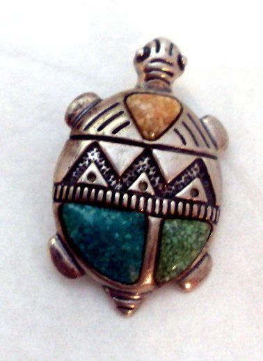 Native American Sterling Silver Turtle Pin by bitzofglitz4u, $45.00