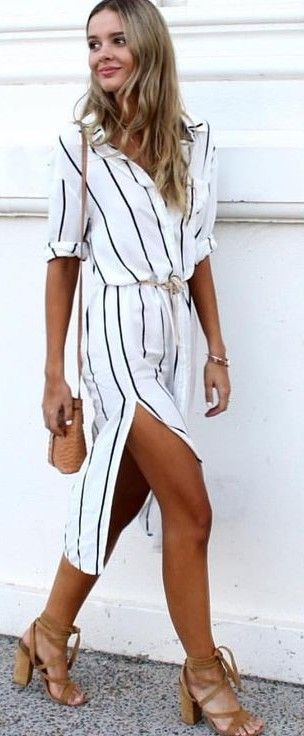 #whitefoxboutique #spring #Summer #outfitideas | Striped Shirt Dress Source