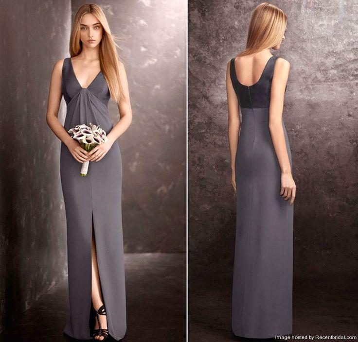 Vera Wang Charcoal V-neck Column Bridesmaid Dress