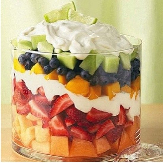 Summer Holiday Fruit and Sweet Cream Trifle Dessert