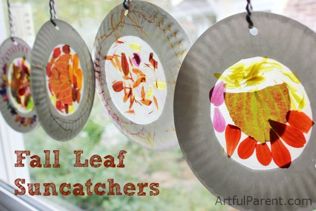 Fall Nature Suncatchers using autumn leaves and fall flowers.