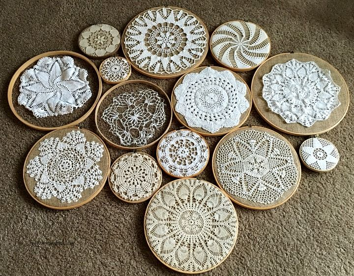 My Turn for us: Vintage Crochet Doilies on Embroidery Hoops Collage