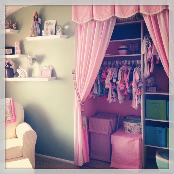 Baby Girl S Nursery Curtains Instead Of Ugly Closet Door