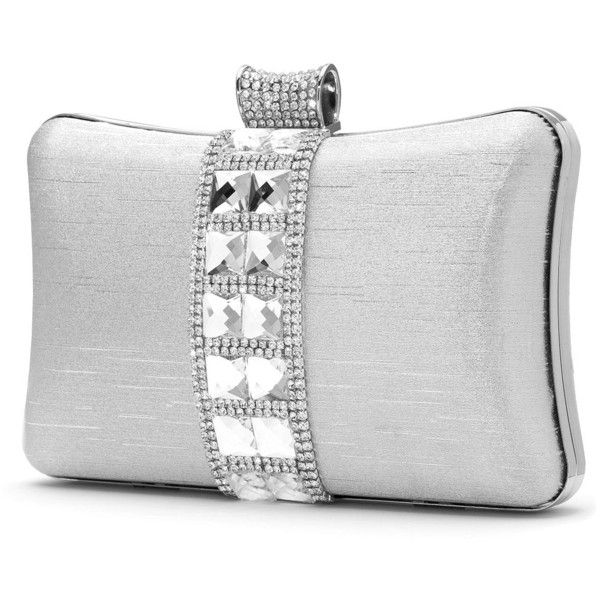 angel forever Stone embellished clutch ($67) ❤ liked on Polyvore featuring bags, handbags, clutches, accessories, embellished handbags, metallic purse, party handbags, white hand bags and metallic clutches