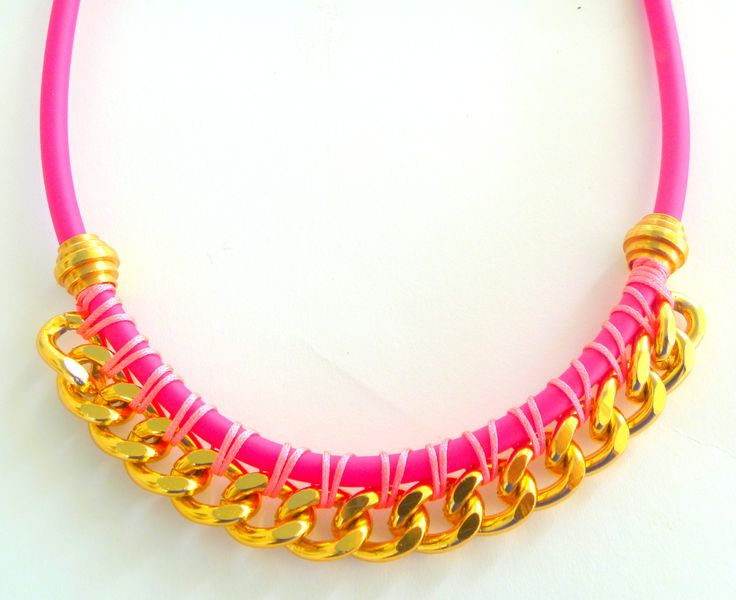 rubber and chain necklace in hot pink