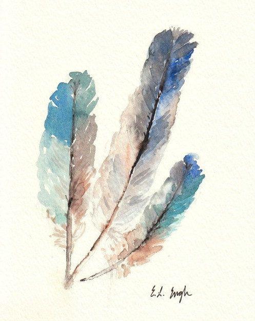 Aves de plumas de arte, láminas, acuarela, azul, verde azulado, verde, marrón, gris, 8 x 10, Paloma, plumas acuarela, pluma de pintura