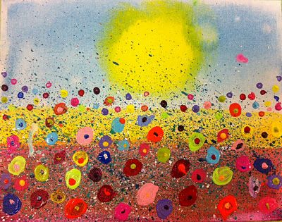kid art, splatter floral paintings