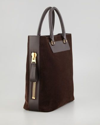 """Suede with leather trim and handles. Top handles with golden rings; 6"""" drop. Side zip pocket with loop. Twill lining. Inside, one large zip pocket. 15""""H x 16""""W x 7""""D. Weighs 3lbs 2oz. Made in Italy."""
