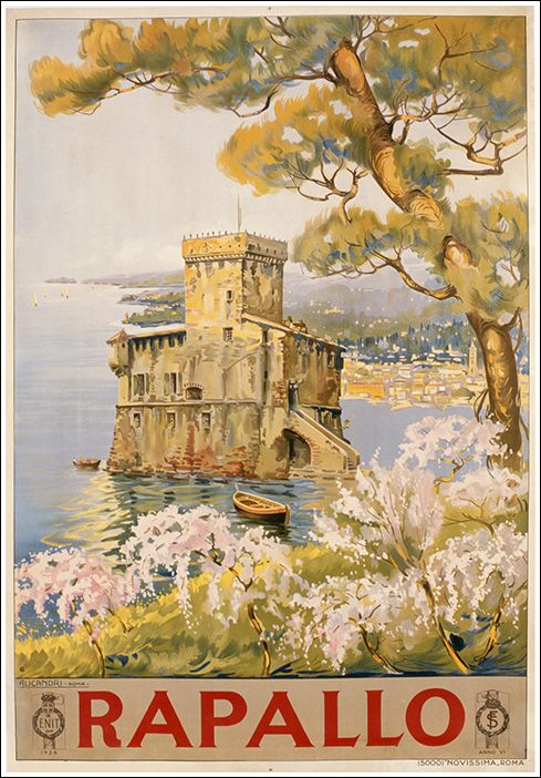 Rapallo, Liguria - Riviera di Genova. vintage travel poster #retro #deco #essenzadiriviera.com
