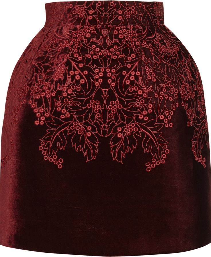 Alexander McQueen's FW12 runway collection skirt in deep red wine broderie anglaise on velvet.