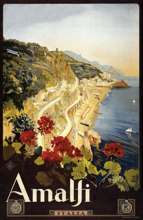 Amalfi, Italia. Vintage travel poster for Amalfi, Italy, circa 1910s. The poster shows the Amalfi coast with flowers in the foreground. Illustrated by Mario Borgoni.