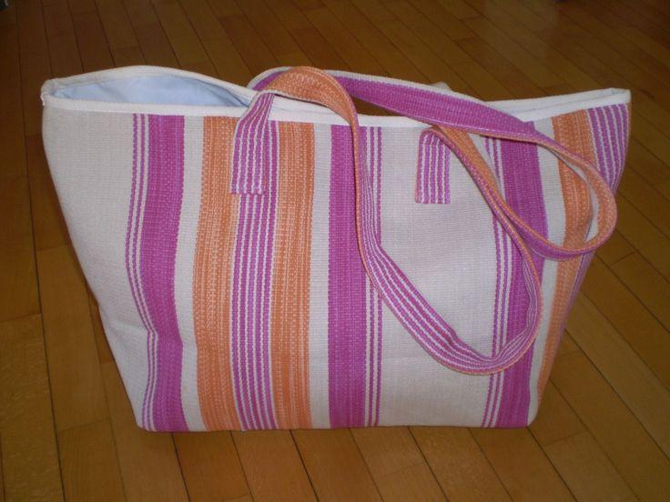 BORSA MARE GRANDE in tessuto rigato di cotone , riga rosa arancio su color lino | Abbigliamento e accessori, Donna: borse | eBay!