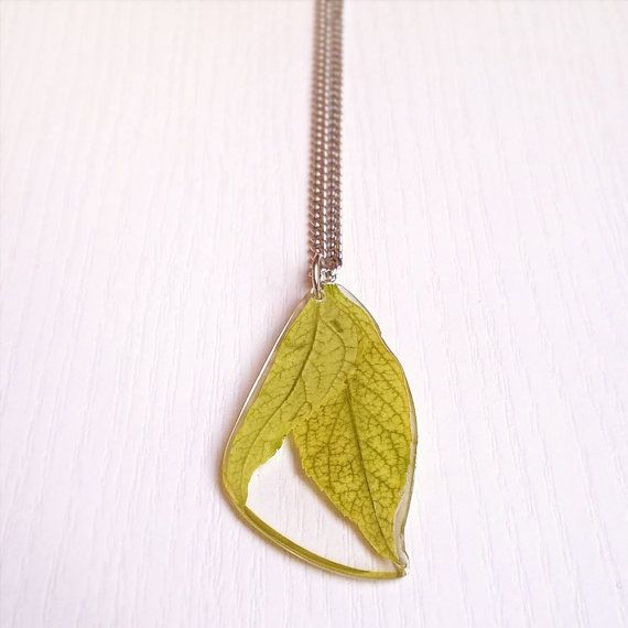 Groene bladeren halsketting echte bladeren door MetanoiaCharm
