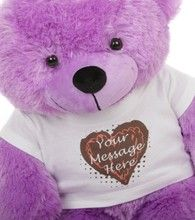 Tell Mom how much you love her... in your own words! Purple 30 in DeeDee Cuddles Personalized Teddy Bear with Heart Truffle T-shirt Happy Mother's Day from Giant Teddy