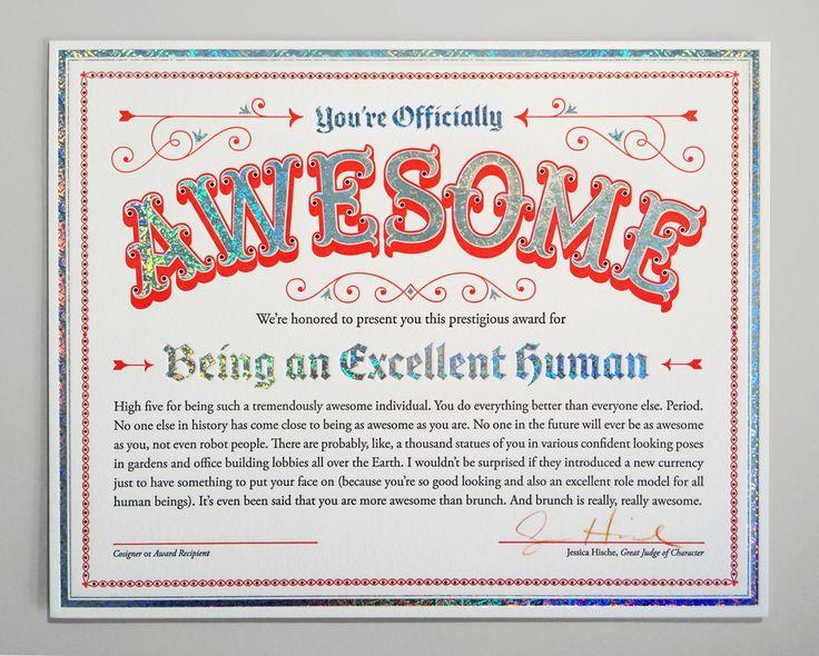 9 best certificate design images on pinterest certificate design officially awesome certificate by jessica hische yelopaper Gallery
