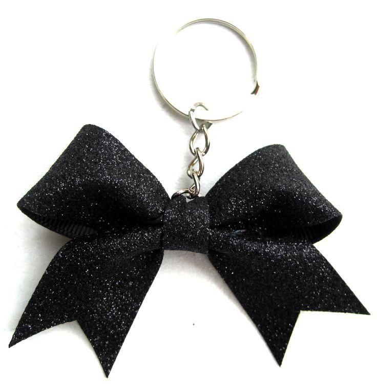 Sparkly Black Key Ring Bow
